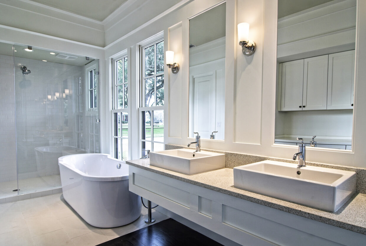 example of a bathroom design in white and ivory.