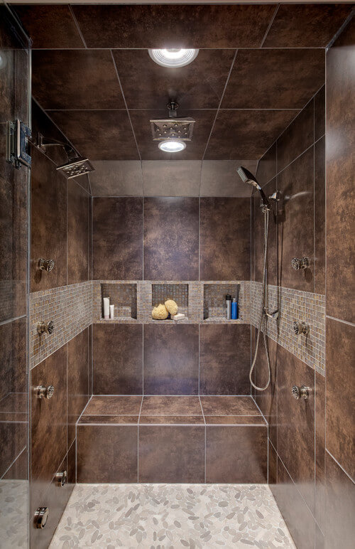 Enhance your shower experience by adding a seat to improve relaxation.