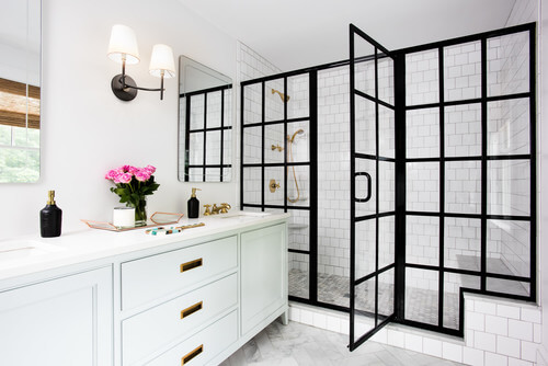 Finally, a new style shower door style! This door is a great style bridge that allows you to bring multiple styles into one space.