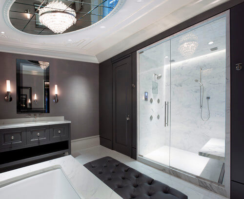I love how the marble shower adds contrast and a luxurious feel.
