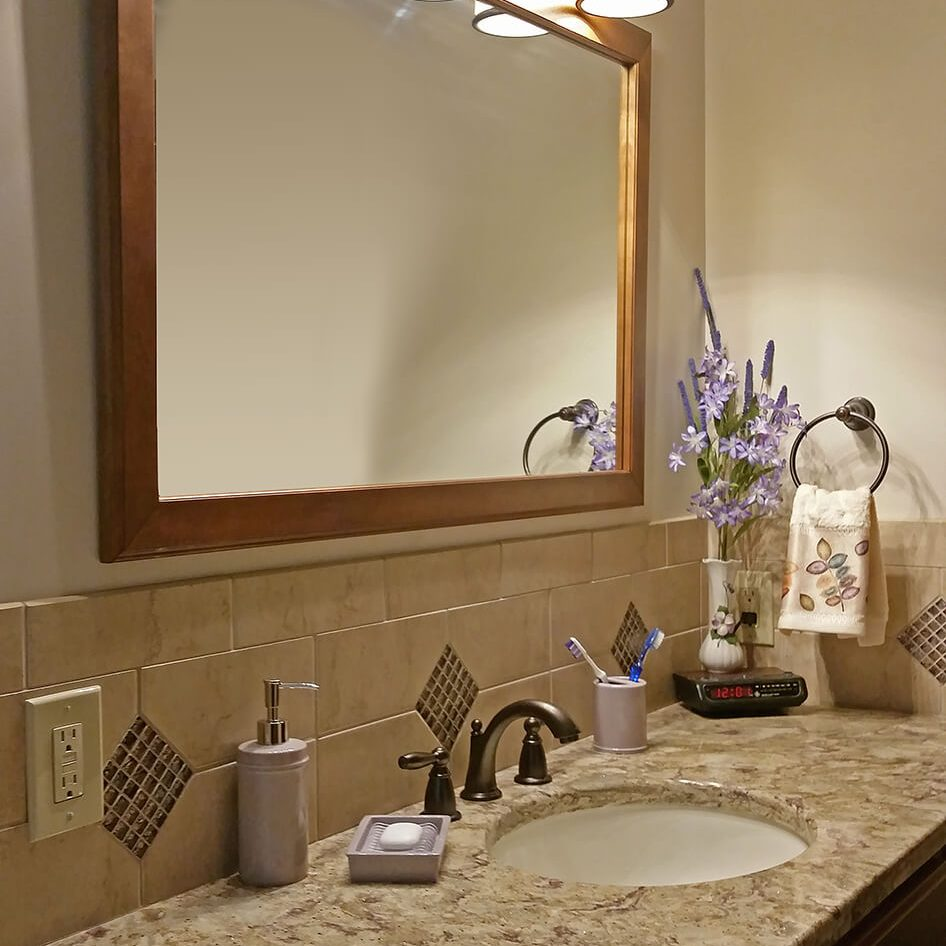 Kinetic Kitchen and Bath Gallery Photo - Bathroom remodel design photo of sink and counter area
