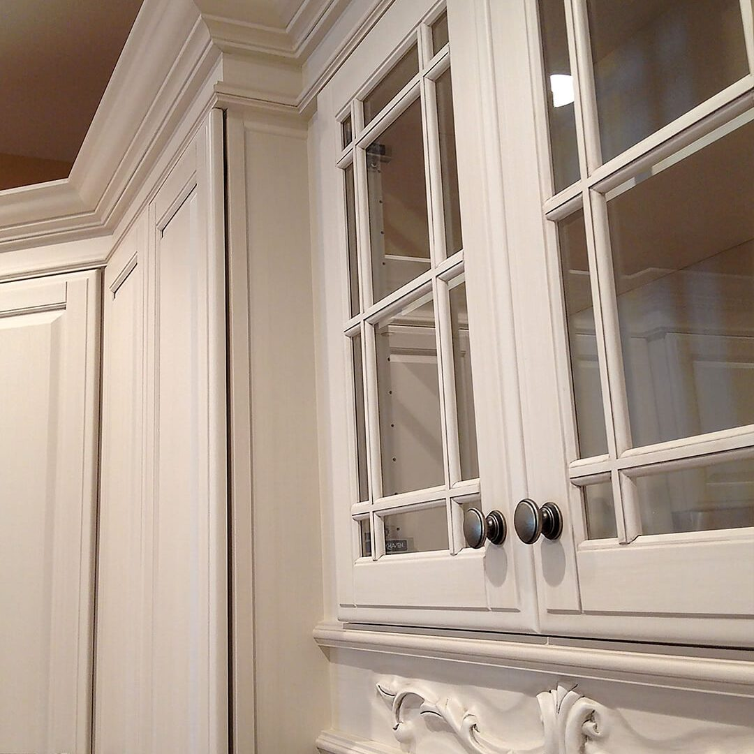Our Work - Kinetic Kitchen and Bath Gallery Photo closeup of cabinetry work in pearl with filigree beneath